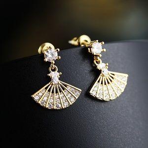 Chinese Hand Fan Cubic Zirconia Earring
